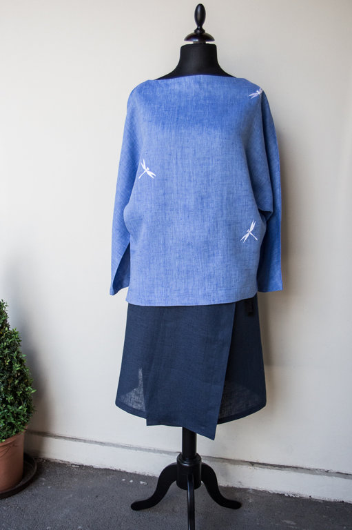 Blue women's tunic with dragonflies
