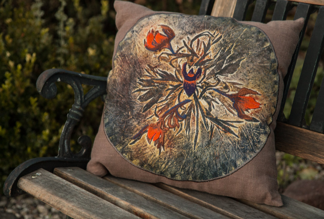 "Pillow with embroidery ""Life Sanctuary of A Beetle"""