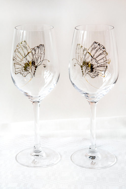 "Wine-glass ""Wind promised skies to a leaf..."""