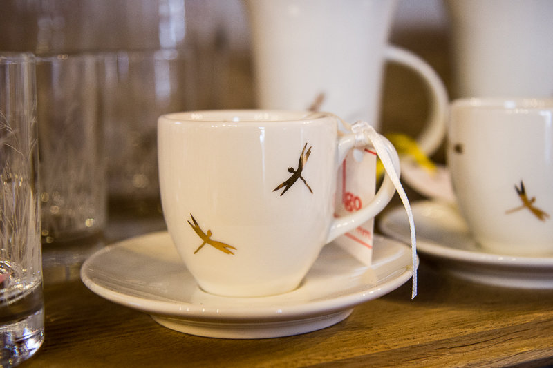 Espresso cup and saucer with golden dragonflies