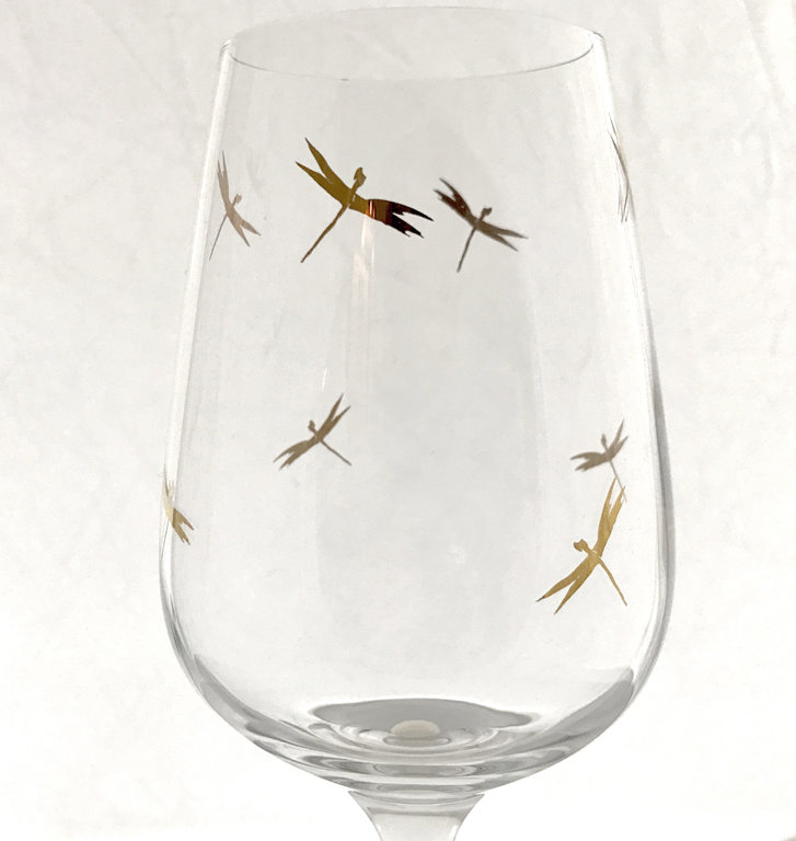Wine Glass With Golden Dragonfly
