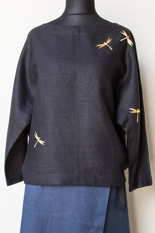Black women's tunic with dragonflies