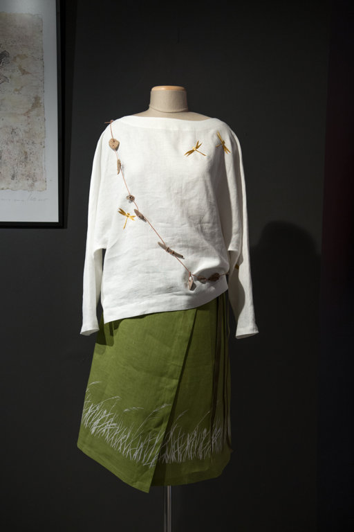 White women's tunic with dragonflies
