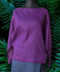Violet women's tunic with dragonflies