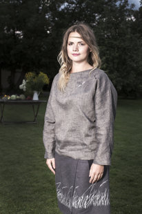 Grey women's tunic with dragonflies